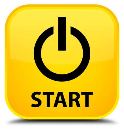 Start (Power-Symbol) Orange Quadratische Schaltfläche Lizenzfreie ...