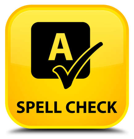spell: Spell check yellow square button Stock Photo
