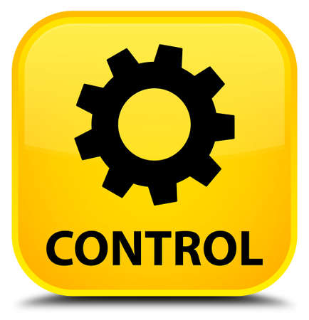 preference: Control (settings icon) yellow square button Stock Photo