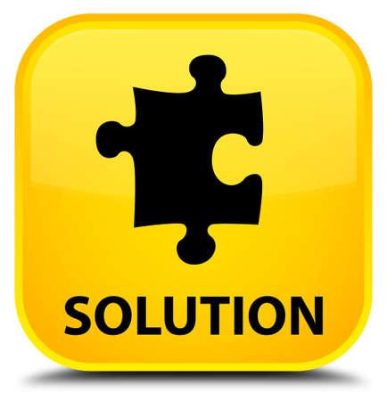 plugin: Solution (puzzle icon) yellow square button Stock Photo