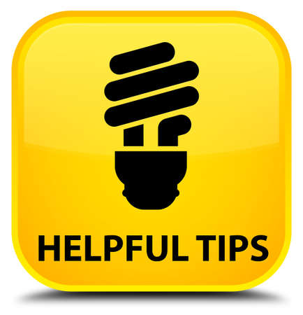 helpful: Helpful tips (bulb icon) yellow square button Stock Photo