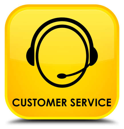 customer care: Customer service (customer care icon) yellow square button