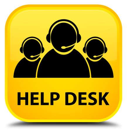 help desk: Help desk (customer care team icon) yellow square button Stock Photo