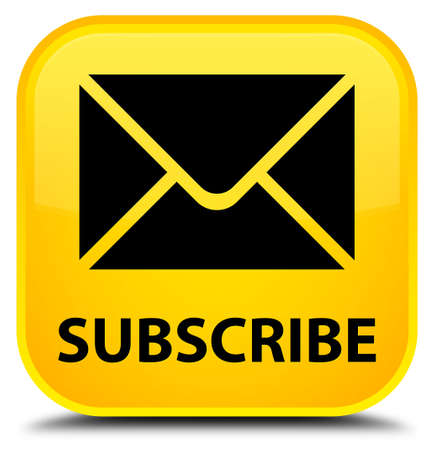 subscribe: Subscribe (email icon) yellow square button Stock Photo