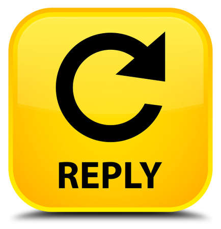 reply: Reply (rotate arrow icon) yellow square button Stock Photo