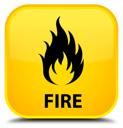 wildfire: Fire yellow square button Stock Photo