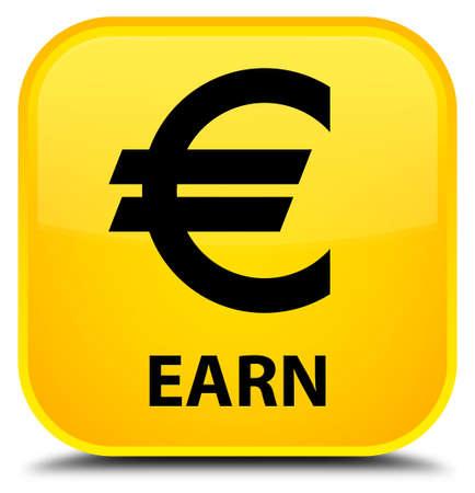 earn: Earn (euro sign) yellow square button Stock Photo