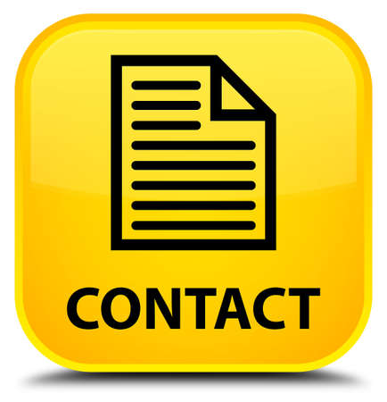 contact page: Contact (page icon) yellow square button Stock Photo