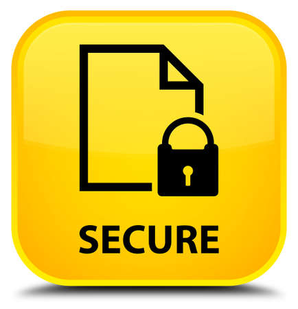 defend: Secure (document page padlock icon) yellow square button Stock Photo