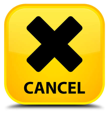 cancel: Cancel yellow square button Stock Photo