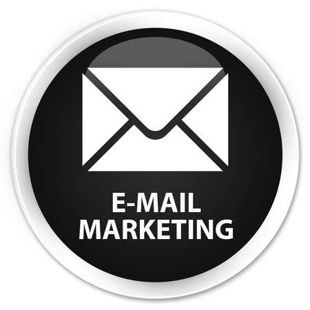 flysheet: E-mail marketing black glossy round button Stock Photo