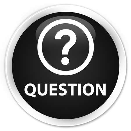 round: Question black glossy round button Stock Photo
