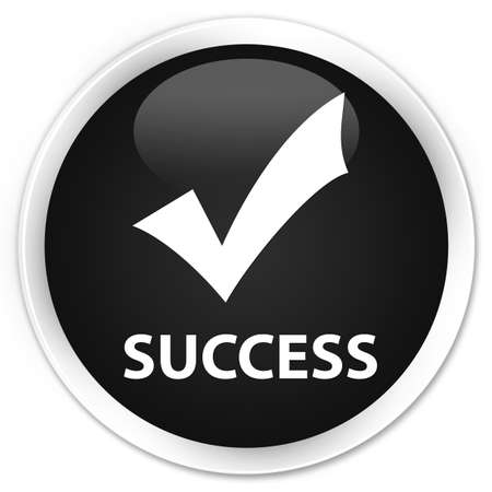 validate: Success (validate icon) black glossy round button Stock Photo