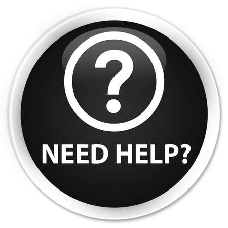 need help: Need help (question icon) black glossy round button