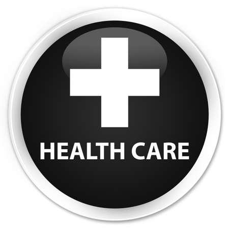 diagnose: Health care (plus sign) black glossy round button