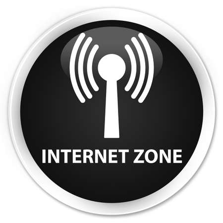 wlan: Internet zone (wlan network) black glossy round button Stock Photo