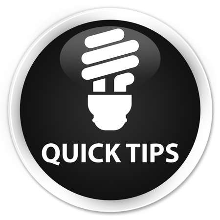 quick: Quick tips (bulb icon) black glossy round button