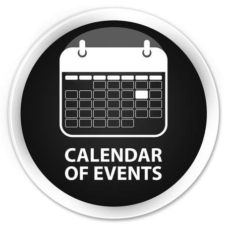 event planner: Calendar of events black glossy round button