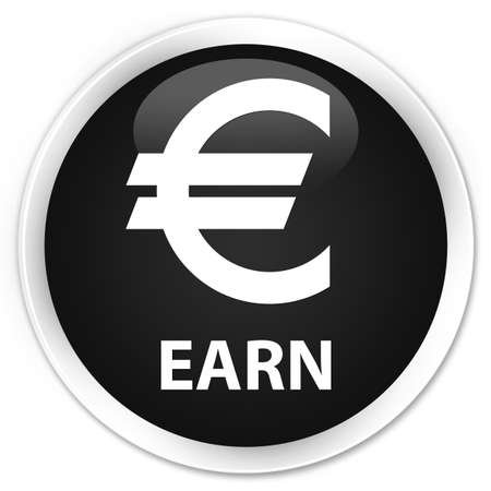 earn: Earn (euro sign) black glossy round button Stock Photo