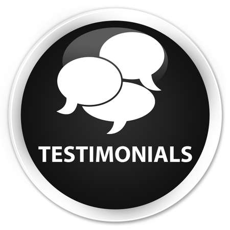comments: Testimonials (comments icon) black glossy round button