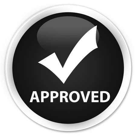 glossy button: Approved (validate icon) black glossy round button Stock Photo