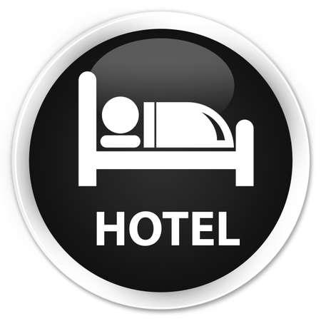 round: Hotel black glossy round button