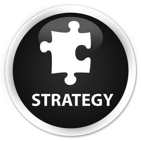 plugin: Strategy (puzzle icon) black glossy round button Stock Photo
