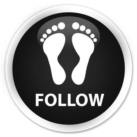 follow icon: Follow (footprint icon) black glossy round button