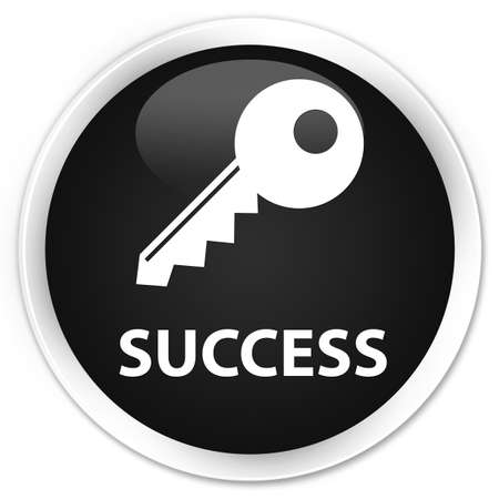 success key: Success (key icon) black glossy round button Stock Photo