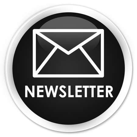 black: Newsletter black glossy round button Stock Photo