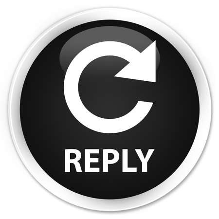 reply: Reply (rotate arrow icon) black glossy round button