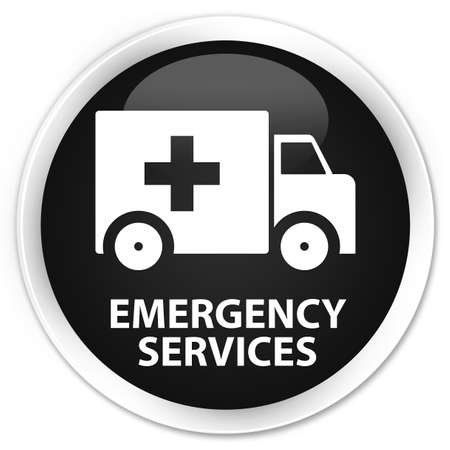 emergency services: Emergency services black glossy round button
