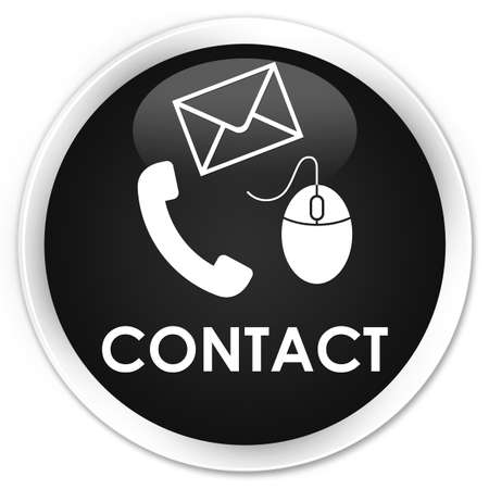 email contact: Contact (phone, email and mouse icon) black glossy round button