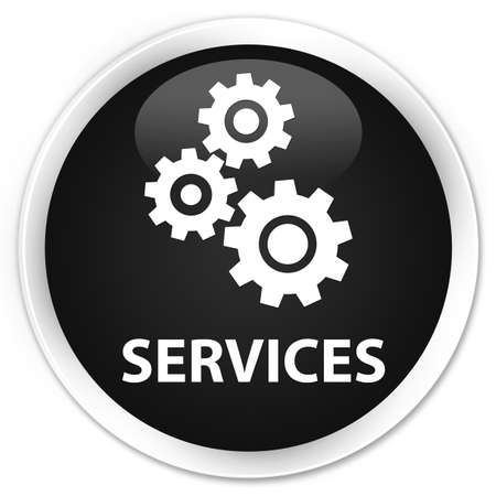 preference: Services (gears icon) black glossy round button Stock Photo