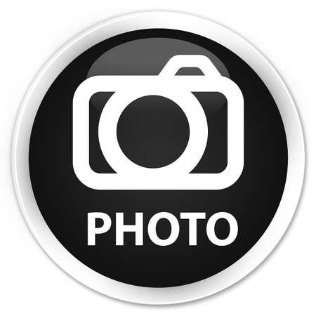Photo (camera icon) black glossy round button