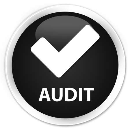 validate: Audit (validate icon) black glossy round button