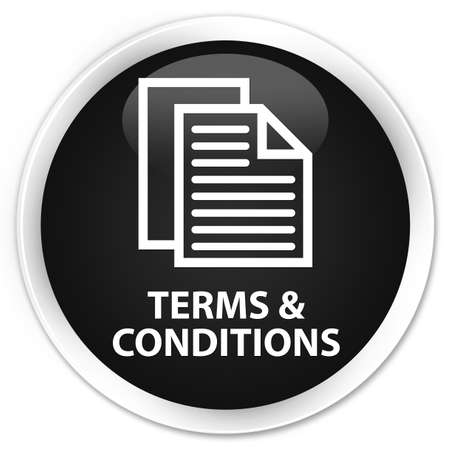 conditions: Terms and conditions (pages icon) black glossy round button Stock Photo