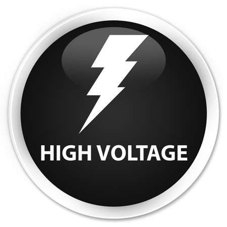 high voltage: High voltage (electricity icon) black glossy round button