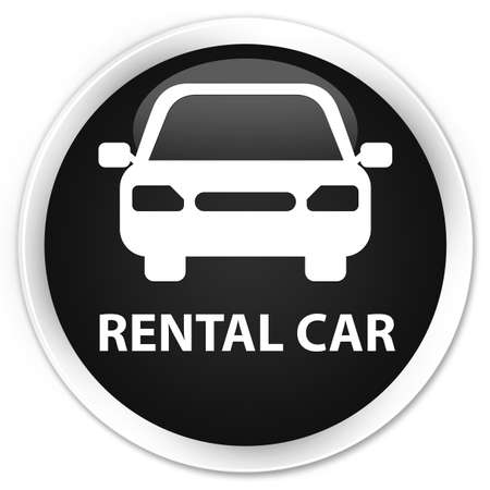 rental: Rental car black glossy round button Stock Photo