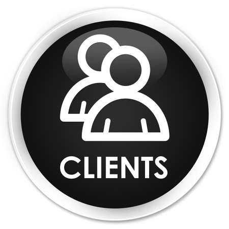 clientele: Clients (group icon) black glossy round button Stock Photo