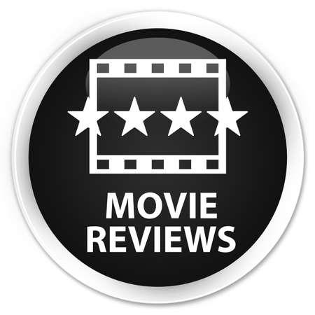 reviews: Movie reviews black glossy round button