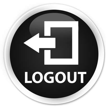 shut out: Logout black glossy round button