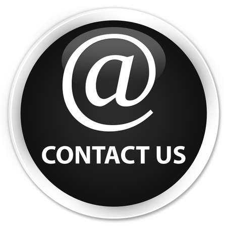 flysheet: Contact us (email address icon) black glossy round button Stock Photo