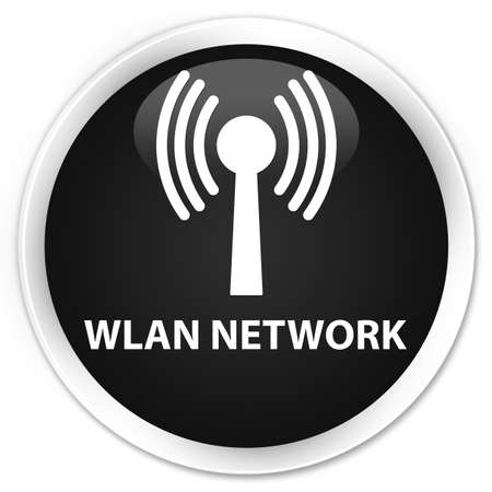 wlan: Wlan network black glossy round button Stock Photo