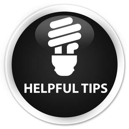 helpful: Helpful tips (bulb icon) black glossy round button Stock Photo