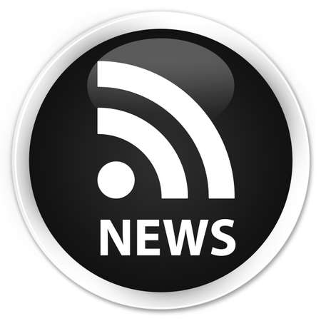 news current events: News (RSS icon) black glossy round button