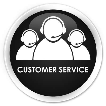 consultants: Customer service (team icon) black glossy round button