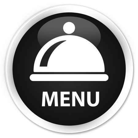 cater: Menu (food dish icon) black glossy round button Stock Photo