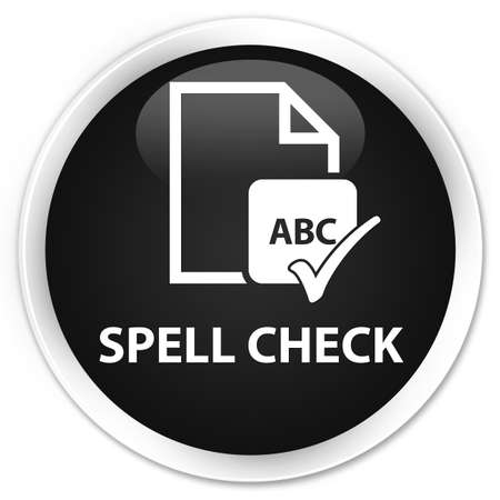 ok sign language: Spell check document black glossy round button