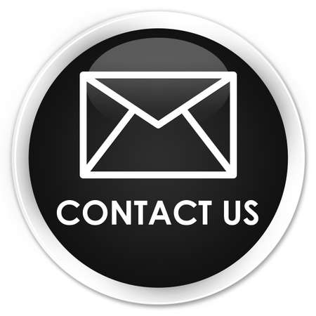 email contact: Contact us (email icon) black glossy round button